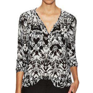 Parker Black Blouse in Arcus Black & White print